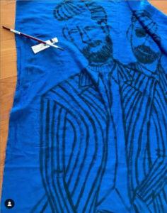 fashion drawing on scarf